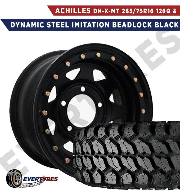 Achilles DH-X-MT 285/75R16 126/123Q 3 PLY and Dynamic Steel Imitation Beadlock Black
